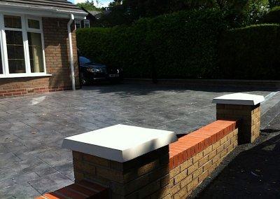 printed concrete and garden wall