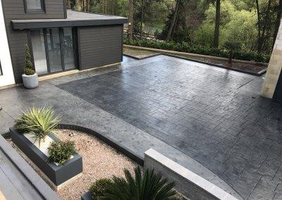 Patterned concrete patio