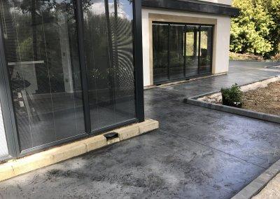 Pressed concrete patio