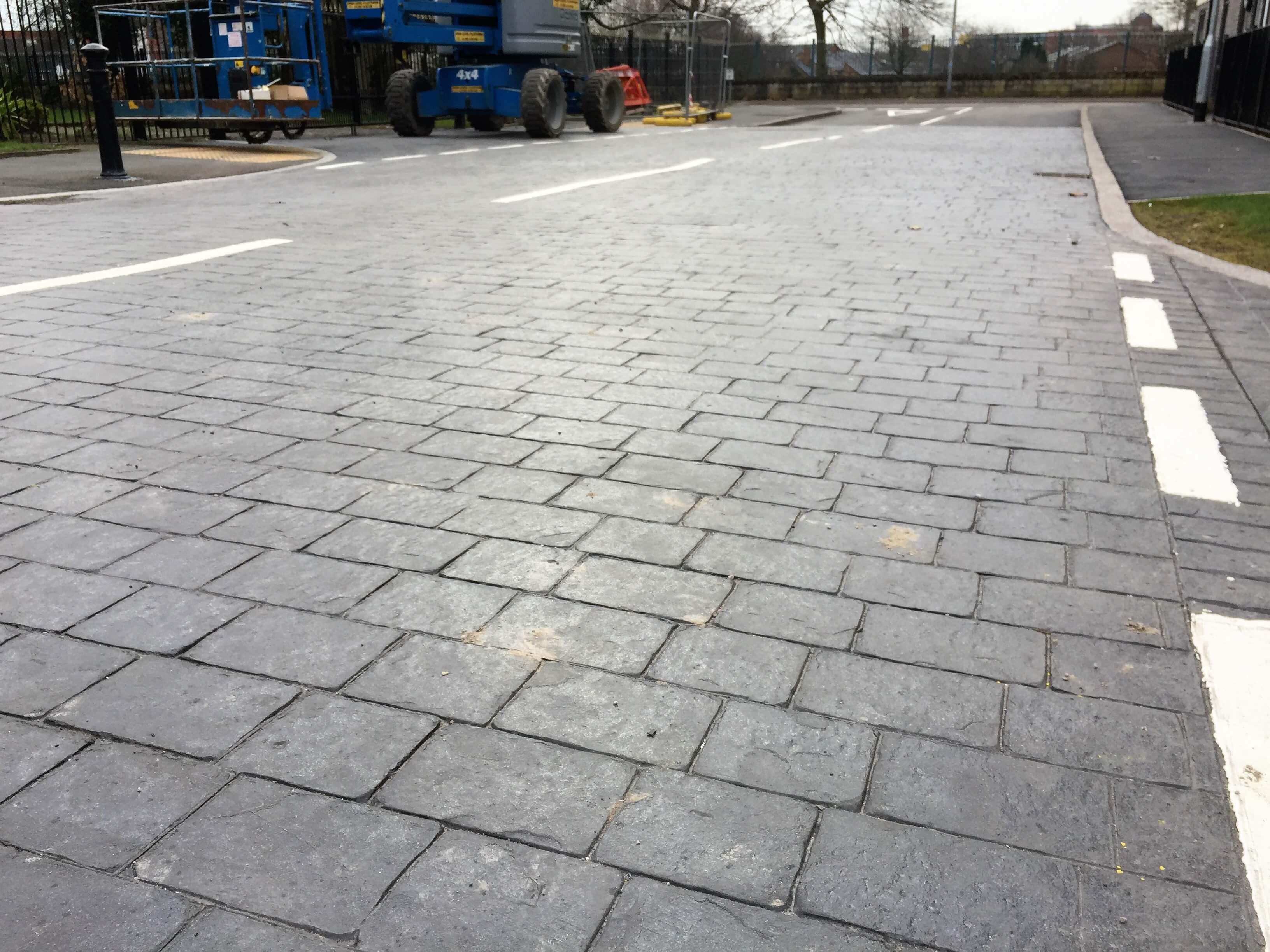 printed concrete road way in Salford
